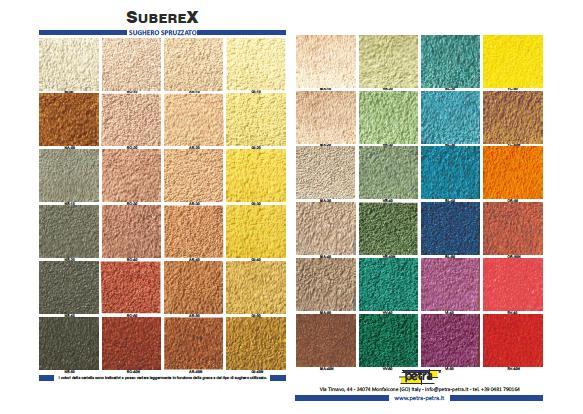 cartella colori SUBEREX rivestimento a base di sughero e resina all'acqua per finiture esterne ed interni