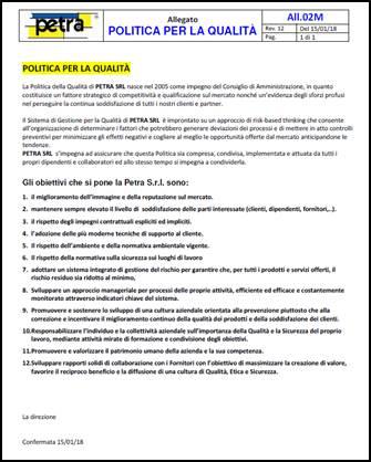 politica per la qualità PETRA SRL